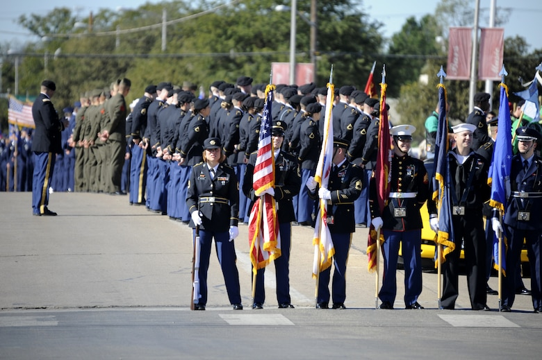 SAN ANGELO, Texas – The Joint Service Color Guard from Goodfellow Air Force Base led the Veteran's Day Parade Nov. 9 in historic downtown San Angelo. The city hosted its tenth annual parade in honor of those serving and those who have served our country. (U.S. Air Force photo/ Staff Sgt. Austin Knox)