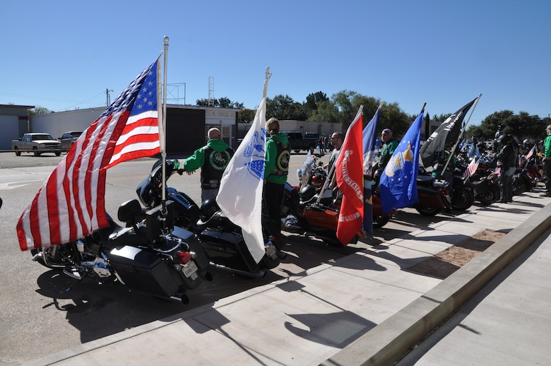 SAN ANGELO, Texas — The Green Knights' motorcycles rest after the Veteran's Day Parade Nov. 9 in historic San Angelo. The Green Knights Military Motorcycle Club, which consists of active duty military and retired veterans, came out to show their support during the parade. (U.S. Air Force photo/ Airman 1st Class Breonna Veal)