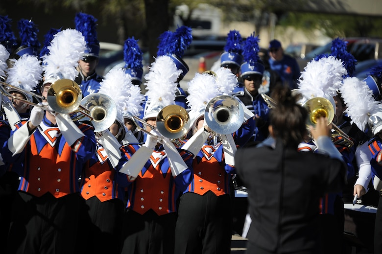 SAN ANGELO, Texas – The Central High School band performs during the Veteran's Day Parade Nov. 9 in historic downtown San Angelo. The high school band members marched alongside military service members to honor military veterans on Veteran's Day. (U.S. Air Force photo/ Staff Sgt. Austin Knox)