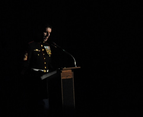 SAN ANGELO, Texas- Marine Corps Gunnery Sgt. James Courteau speaks during the Marines Corps Ball at the McNeese Convention Center Nov. 8. The ball was held in honor of the Marines 238th birthday. (U.S. Air Force photo/ Airman 1st Class Erica Rodriguez)