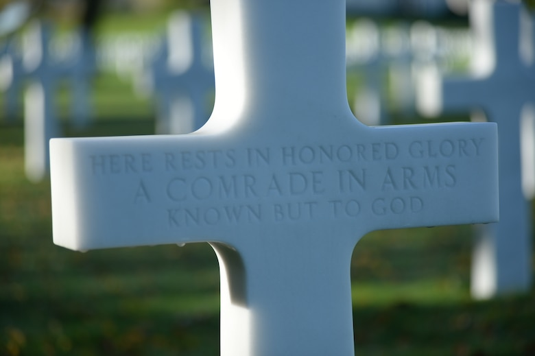 HOMBOURG, Belgium --- A marble cross for an unidentified American service member is displayed at the Henri-Chapelle American Cemetery Nov. 11, 2013.  The cemetery reveres the legacy of 7,992 American service members who died in World War II.  (U.S. Air Force photo by Staff Sgt. Joe W. McFadden / Released)