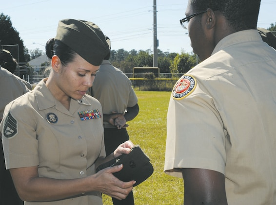 Westover High School Junior Reserve Officers Training Corps unit held their annual inspection, Oct. 24.  As the 145 cadets filed onto the baseball field, eight senior Marines assigned to Marine Corps Logistics Command stood ready with their inspection clipboards in hand.