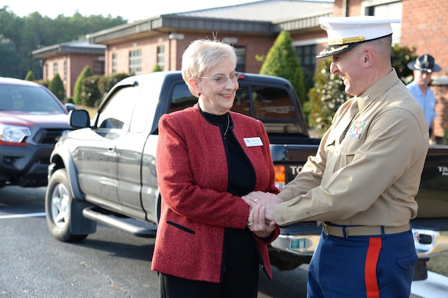 Officials at Marine Corps Logistics Base Albany welcomed Sandra Deal, wife of Georgia Gov. Nathan Deal, Tuesday.  The First Lady of Georgia is scheduled to visit three of the state's military installations that have been grant recipients of the Governor's Office for Children and Families, which includes MCLB Albany. The primary goals of the grant are to increase family and unit cohesiveness, and increase employment opportunities. Additional benefits include preparing youth for a safe and healthy transition into adulthood, improving skill sets of military spouses and youth, and providing résumé building opportunities. Deal and members of her office and her grant review staff were greeted by base commanding officer, Col. Don Davis, participants and volunteers who highlighted benefits, events and programs the base implemented from the funding.  This is the second year MCLB Albany has been awarded this grant.