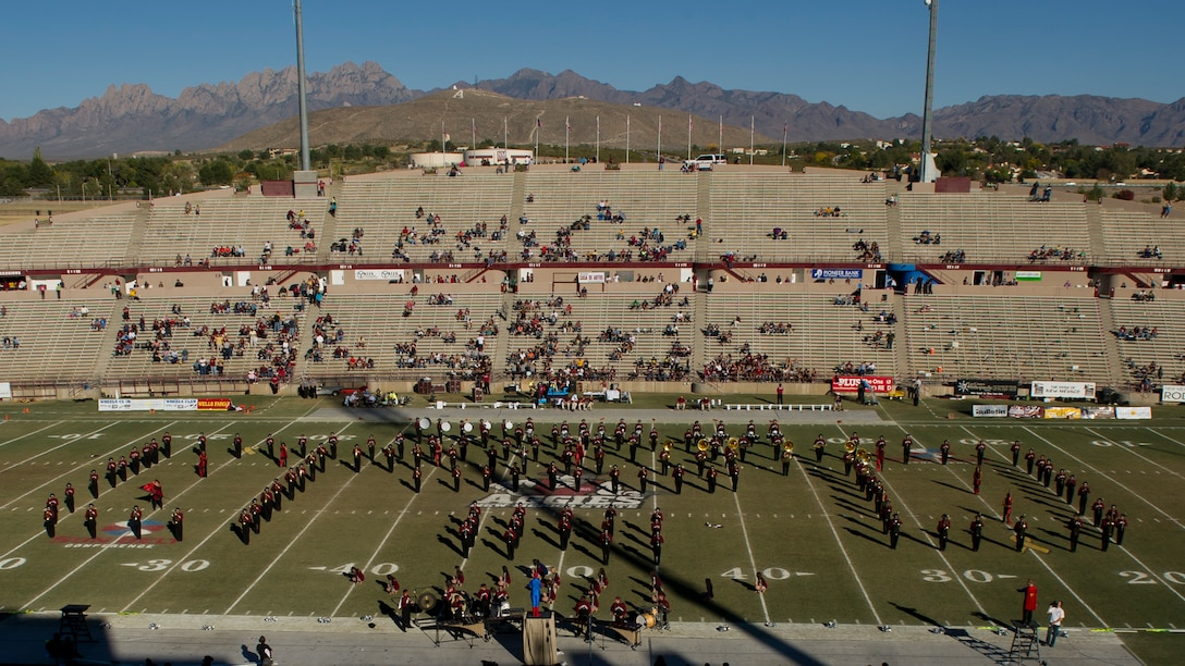 The Pride of New Mexico Marching Band performs during the halftime show at Aggie Memorial Stadium in Las Cruces, N.M., Nov. 9. NMSU hosted Boston College for their annual military appreciation game, which honored current and past military veterans. (U.S. Air Force photo by Airman 1st Class Aaron Montoya/Released)