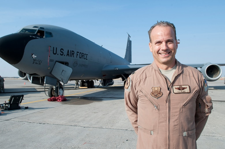 Lt. Col. Thomas Blake is a pilot serving with the 22nd Expeditionary Air Refueling Squadron at Transit Center at Manas, Kyrgyzstan. Blake, who recently completed his 100th combat sortie and fini flight, is deployed out of Pease Air National Guard Base, N.H., and is a native of Wakefield, N.H. (U.S. Air Force photo/Staff Sgt. Robert Barnett)