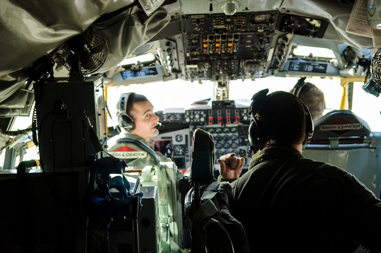 Members of the 128th Air Refueling Wing, Milwaukee, Wisc. prepare a KC-135 Stratotanker for take-off during a training exercise Nov. 3, 2013.  (U.S. Air Force photo by Tech. Sgt. Thomas J. Sobczyk/Released)