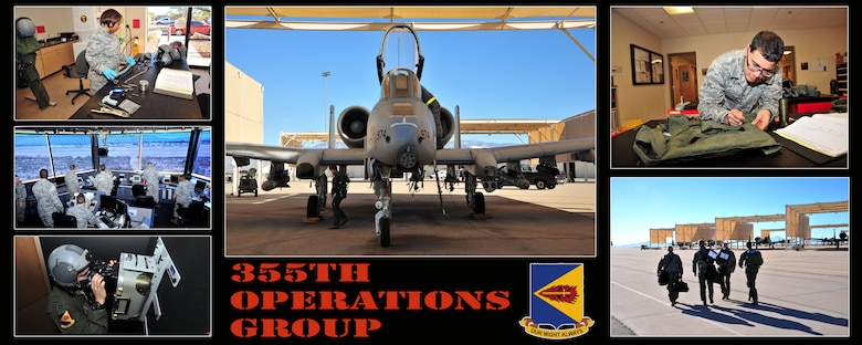 The 355th Operations Group consists of five squadrons and over 300 personnel employing 83 A-10C aircraft and an AN/TPS-75 radar system. It provides war-fighters with forces for close air support, forward air control, combat search and rescue.