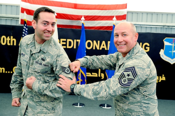 U.S. Air Force Chief Master Sgt. Garth Meade, 380th Air Expeditionary Wing command chief