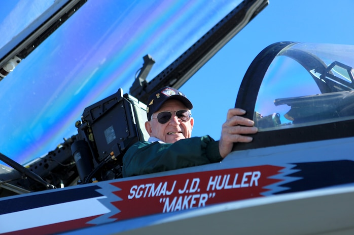 Retired Maj. William Hodson, a 90-year-old native of Tacna, Ariz., sits in the pilot seat of an F/A-18 Hornet during a Marine Fighter Attack Sqaudron 115 annual reunion aboard Marine Corps Air Station Beaufort, Nov. 8. Hodson, a former pilot, was an active-duty pilot with the squadron when it was first activated on July 1, 1943. The reunion was part of VMFA-115's 70th anniversary celebration.