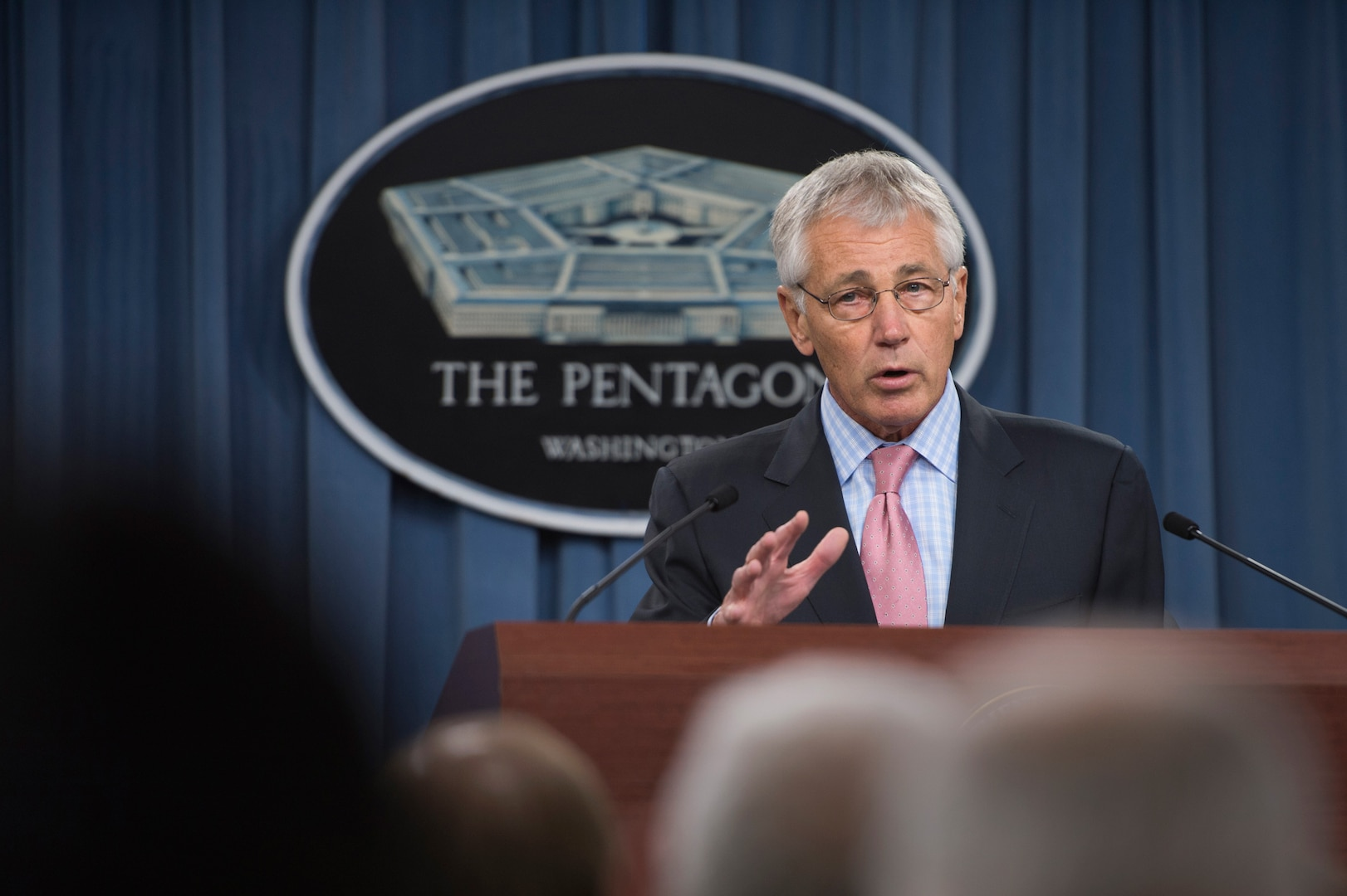 Defense Secretary Chuck Hagel talks about the government shutdown during a news conference at the Pentagon, Oct. 17, 2013.