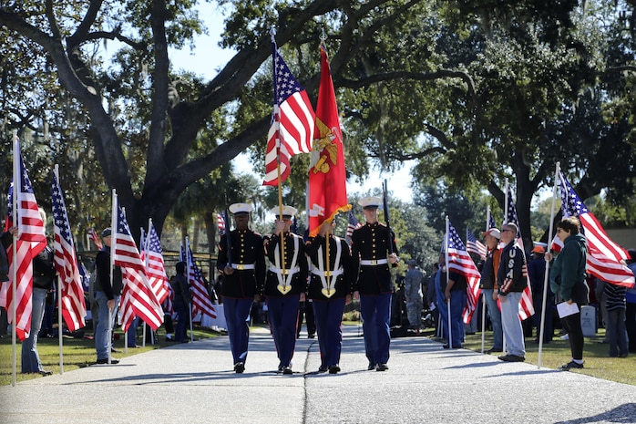 Tri-Command service members participated in the Veterans Day Parade and Ceremony at the Beaufort National Cemetery in Beaufort, Nov. 11. The event honored Beaufort's veterans and active duty service members.