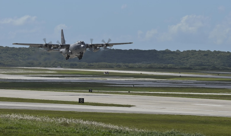 A C-130 Hercules takes off transporting Airmen and equipment in support of Operation Damayan Nov. 14, 2013, from Andersen Air Force Base, Guam. Pacific Air Forces sent a C-130 from 374th Airlift Wing, Yokota Air Base, Japan, with a 12-member assessment team from the 36th Contingency Response Group. The assessment team will determine if the Tacloban airfield is able to receive follow on aircraft, particularly, C-17 Globemaster IIIs.