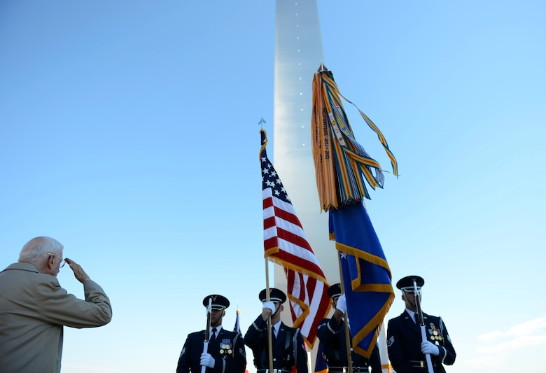 The U.S. Air Force Honor Guard presents the colors during the Air Force Memorial Veterans Day wreath laying ceremony Nov. 11, 2013, at the Air Force Memorial in Arlington, Va. More than 100 veterans, service members, family members and supporters came out for the wreath laying ceremony.