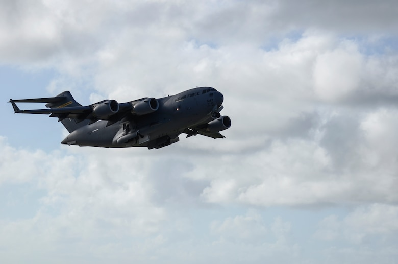 A C-17 Globemaster III takes off from the Andersen Air Force Base, Guam, flightline to support Operation Damayan in Tacloban, Philippines. Operation Damayan is a U.S. humanitarian aid and disaster relief effort to support the Philippines in the wake of the devastating effects of Typhoon Haiyan. (U.S. Air Force photo by Senior Airman Marianique Santos/Released)