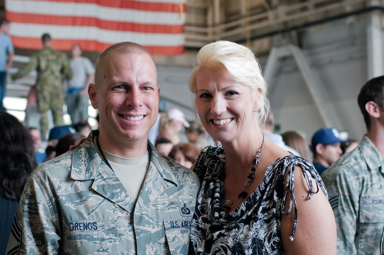 SPANGDAHLEM AIR BASE, Germany- Chief Master Sgt. Matthew Grengs, 52nd Fighter Wing command chief, was welcomed home from his deployment in 2012 by his wife, Estelle.  Chief Grengs has served in the U.S. Air Force for 23 years. (Courtesy photo/Released)