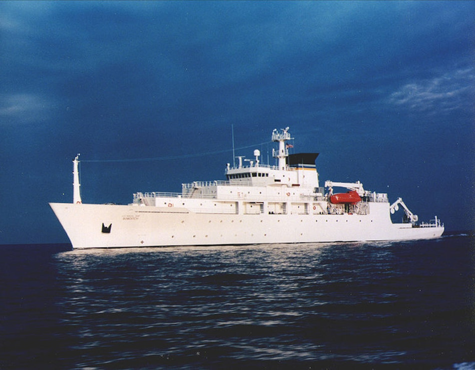 The USNS Bowditch oceanographic survey ship at sea. U.S. Navy photo