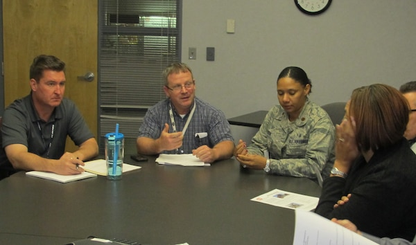 Maj. DaNishia Barton, Air Force Medical Support Agency Sustainment Branch deputy chief, and other AFMSA team members meet with representatives from Huntsville Center's Maintenance Engineering Enhancement and Medical Repair and Renewal programs Nov. 14 to plan for the future.