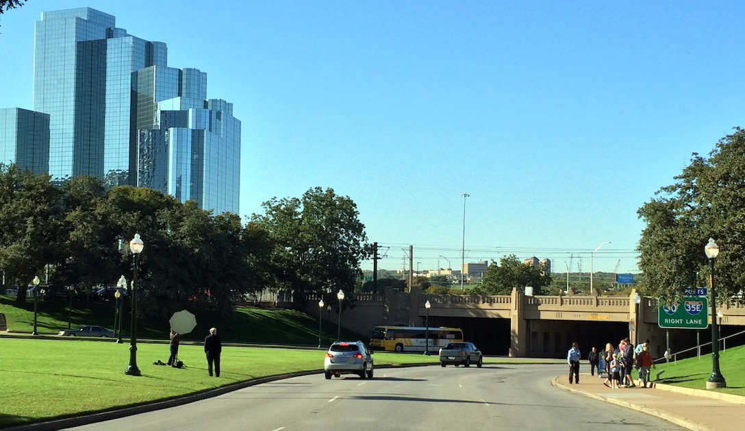 Heading down Elm Street today toward the Triple Underpass, Dallas has a new skyline.