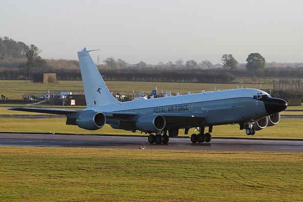 The first of three RC-135 Rivet Joint aircraft lands at Royal Air Force Waddington, England, on Nov. 12. The historic occasion is the culmination of a 2010 agreement between the Department of Defense and the U.K. Ministry of Defense for the RAF to purchase three RJs. As the sole provider of Rivet Joint initial qualification training, the 55th Wing has trained more than 140 aircrew and ground maintenance personnel from the RAF at Offutt Air Force Base, Neb., since the programs initiation in 2010. (courtesy photo)