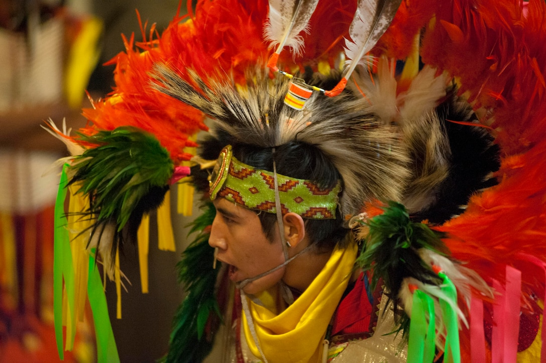 """Performers from the Comanche tribe put on a show in honor of Native American Heritage Month Nov. 13, 2013, at Sheppard Air Force Base, Texas. In 1990, President George H. W. Bush approved a joint resolution designating November as """"National American Indian Heritage Month"""". (U.S. Air Force photo/Airman 1st Class Jelani Gibson)"""