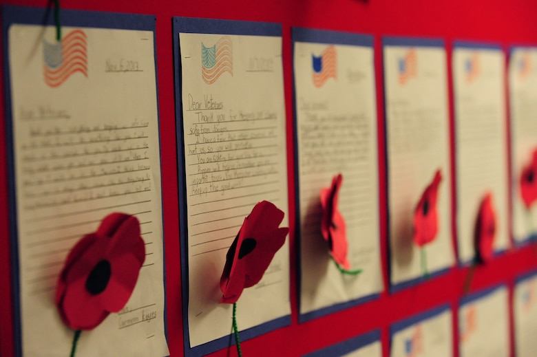 Letters written to American war veterans line the halls of Doris French Elementary School in Las Vegas, Nov. 8, 2013. As part of their annual Veteran's Day Celebration, the school invited Airmen from Nellis and Creech Air Force Bases to attend a school assembly and speak with students about their time in the military. (U.S. Air Force photo by Airman 1st Class Joshua Kleinholz)