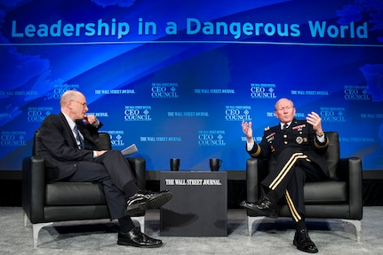18th Chairman of the Joint Chiefs of Staff U.S. Army Gen. Martin E. Dempsey addresses the audience at The Wall Street Journal CEO Council Annual Meeting's dinner at the Four Seasons Hotel in Washington D.C., Nov. 18, 2013. Gen. Dempsey was interviewed by John Bussey, Assistant Managing Editor and Executive Business Editor for The Wall Street Journal; discussing leadership in a dangerous world, and the art of leadership, and the national security it's meant to protect.  DoD photo by U.S. Army Staff Sgt. Sean K. Harp