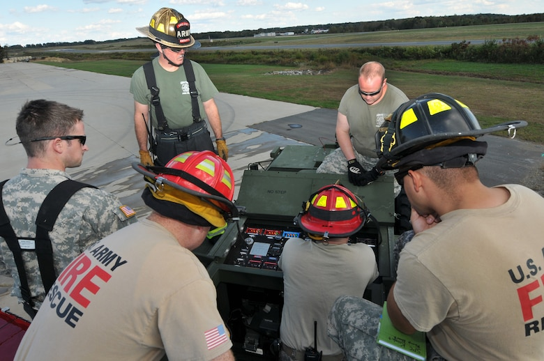 U.S. Army Staff Sgt. Tim Layton, Non-Commissioned Officer in Charge, Specialist Massey, Knight, St Clair, SGT Groat and Specialist Gindelsperger, members of the North Carolina Army National Guard, conduct training October 23, 2013, on a US Army Tactical Fire Fighting Truck. The TFFT has a 6 man crew, carries 1000 gallons of water, 120 gallons of foam and is 8-wheel driven.  It has enough tools and equipment on board to sustain an initial emergency response until additional units arrive to assist with operations.  In the wake of the Federal Government shutdown many North Carolina State firefighters were furloughed and Army Guard Firefighters assigned to 430th and 677th Engineer Fire Fighting Teams were mobilized to assist in support of Fire Protection at Charlotte-Douglas International Airport and Stanly County Airport.  During this time training exercises were held at the 145th Air National Guard Regional Training Site in New London, N.C. (Air National Guard photo by Master Sgt. Patricia F. Moran/Released)