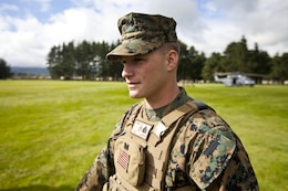 Sgt. Greg Wubben, a civil affairs non-commissioned officer with 1st Civil Affairs Group, I Marine Expeditionary Force, from Ridgefield, Wash., waits for a familiarization brief on New Zealand helicopters during the initial stages of exercise Southern Katipo 2013 aboard Linton Military Camp, New Zealand, Nov. 4. SK13 is designed to improve participating forces' combat training, readiness and interoperability as part of a Joint Inter-Agency Task Force.