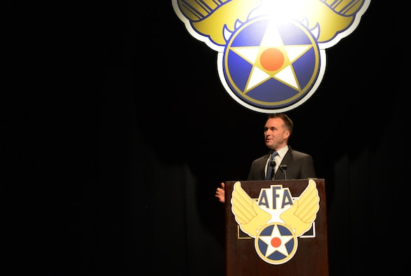 Acting Secretary of the Air Force Eric Fanning, addresses members of the Air Force Association Nov 22, 2013, during the AFA Pacific Air & Space Symposium, Los Angeles, Calif. Fanning spoke on the state of the force and the Air Force's position in space and cyberspace.