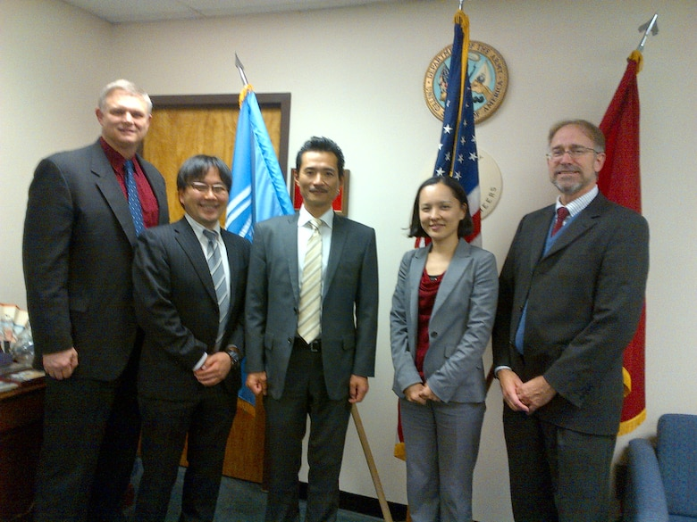 Left to right: Joe Manous (IWR), Masato Okabe (Research Engineer, Water Resources Policy Group, JICE), Yanagisawa Osamu (Team Leader and Senior Chief Research Engineer, Water Resources Policy Group, JICE), Junko Sagara (Deputy Manager, Water Management and Research Division, CTI Engineering), and Dr Will Logan (IWR and Deputy Director, International Center for Integrated Water Resources Management, ICIWaRM).