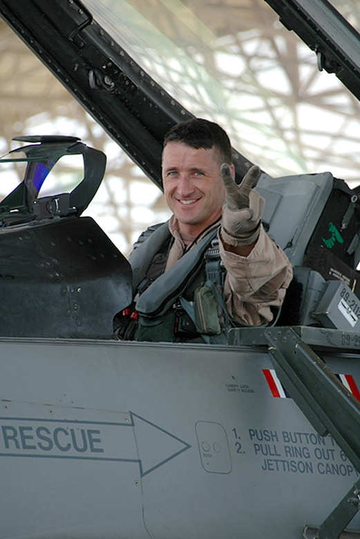 Col. Steven S. Nordhaus, currently the 180th Fighter Wing Commander, Ohio Air National Guard, prepares for a combat sortie in support Operation Enduring Freedom at Al Udeid Air Base, Qatar in 2005. (U.S. Air National Guard Photo by Master Sgt. Beth Holliker / Released).