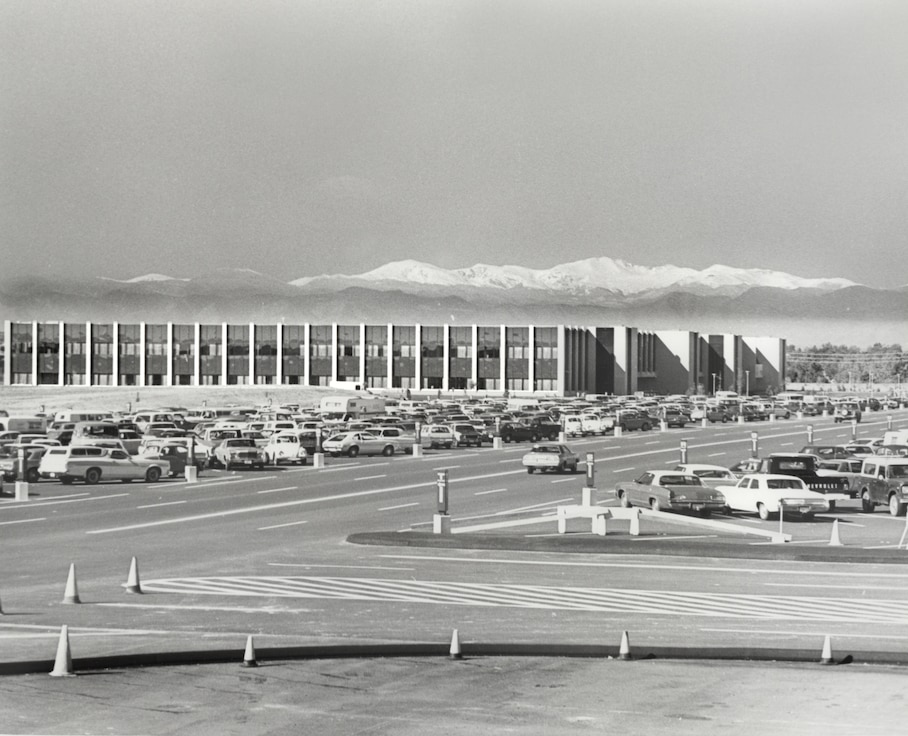The Air Reserve Personnel Center at the former Lowry Air Force Base, Colo., in the spring of 1977, with Mt. Evans in the background. Members of ARPC moved to this building Sept. 1, 1976, from their original facility on 3800 York Street in north Denver. ARPC was established in Nov. 1, 1953, and opened their doors March 1, 1954. This feature story is the third of a monthly series celebrating ARPC's 60th birthday. (U.S. Air Force photo)