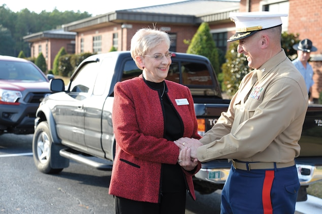Sandra Deal, wife of Georgia Gov. Nathan Deal, meets with Col. Don Davis, commanding  officer, Marine Corps Logistics Base Albany, Nov. 12.