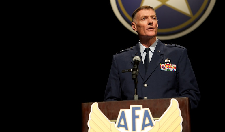 Lt. Gen. Andrew Bush delivers his perspective on recent structural changes within Air Force Materiel Command Nov. 22, 2013, at the Air Force Association's Pacific Air & Space Symposium in Los Angeles, Calif. Bush outlined the impacts of budgetary constraints and sequestration on a largely civilian-supported command and highlighted progress despite fiscal challenges. Bush is the vice commander of AFMC.