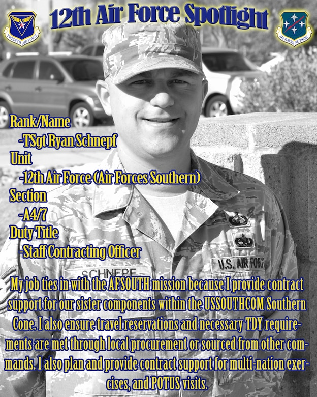 Tech Sgt. Ryan Schnepf, 12th Air Force (Air Forces Southern) staff contracting officer, is highlighted in this week's 12th Air Force (Air Forces Southern) spotlight. (U.S. Air Force Graphic by Staff Sgt. Adam Grant/Released)