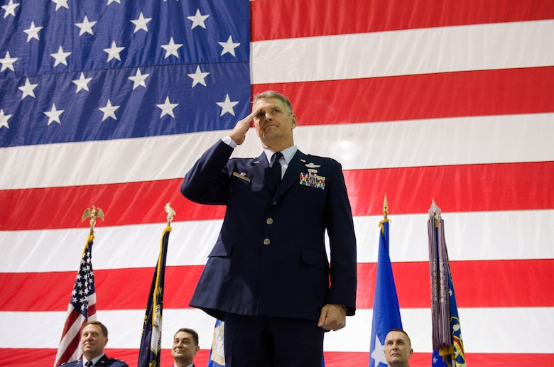 Col. Barry Gorter receives his first salute as commander of the 123rd Airlift Wing during a change-of-command ceremony held in the Fuel Cell Hangar at the Kentucky Air National Guard base in Louisville, Ky., Nov. 24, 2013. (U.S. Air National Guard photo by Airman 1st Class Joshua Horton)