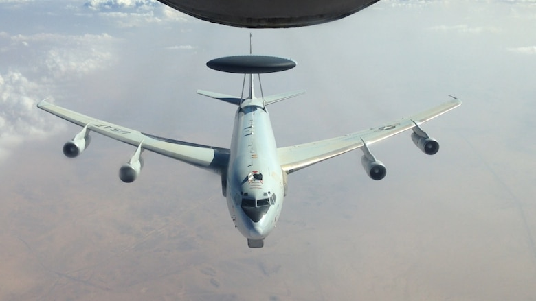 An E-3 Sentry airborne warning and control system flies over an undisclosed location in Southwest Asia just after refueling Nov. 16, 2013. AWACS provide service members situational awareness of friendly, neutral and hostile activity, command and control of an area of responsibility, battle management of theater forces, all-altitude and all-weather surveillance of the battle space, and early warning of enemy actions during joint, allied, and coalition operations.