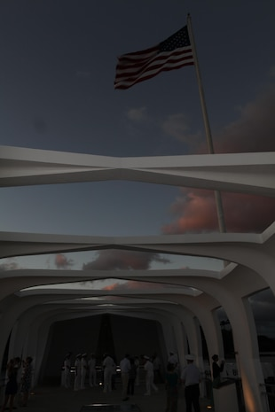 Members of the Chaplain Corps and their guests visit the USS Arizona Memorial here, Nov. 25, to pay respect to the fallen heroes of Pearl Harbor, during a Remembrance Barge Tour.