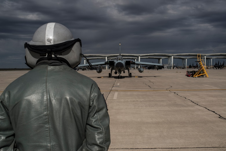 A German Air Force crew chief marshals an AG-51 Tornado prior to take off at Mountain Home Air Force Base, Idaho, Oct. 1, 2013. The Tornados will be at Mountain Home from Sept. 30 through Oct. 19 for Mountain Roundup 2013, an exercise that is part of the German Air Force Tornado Fighter Weapons Instructor Course Mission Employment (ME) Phase. (U.S. Air Force photo by Master Sgt. Kevin Wallace/RELEASED)