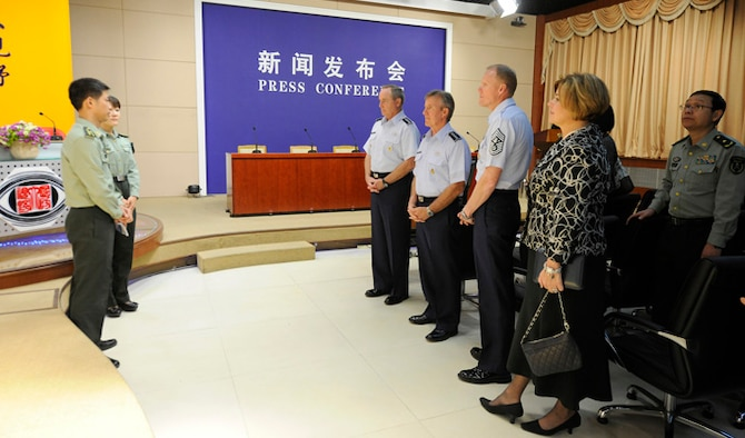 """Air Force Chief of Staff Gen. Mark A. Welsh III visits the media training center at the National Defense University Sept. 26, 2013, in Beijing, China. Welsh, along with Gen. """"Hawk"""" Carlisle and Chief Master Sgt. of the Air Force James A. Cody, visited with various military leaders as part of a weeklong visit."""