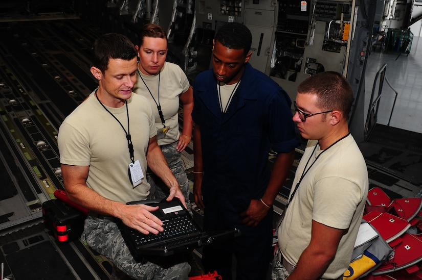 Airmen from the 437th Maintenance Squadron prepare to inspect a Globemaster C-17 Oct. 1, 2013, at Joint Base Charleston – Air Base, S.C. Staff Sgt. Aircraft maintenance engineers maintain and repair aircraft frames and mechanical parts. They use instruments to measure wear and test controls, replace defective components with hand tools, inspect their work to be sure it meets established standards and maintains records of actions. (U.S. Air Force photo/ Airman 1st Class Chacarra Neal)