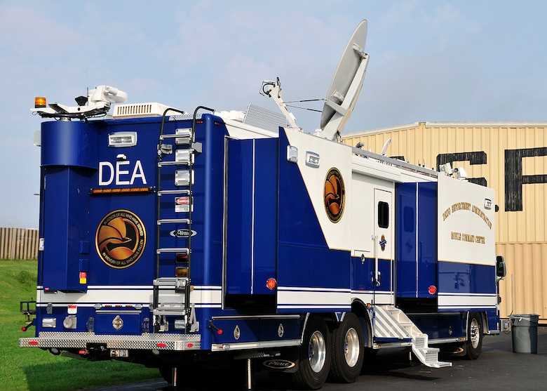 A mobile command post was recently deployed to McGhee Tyson Air National Guard Base, TN as part of the DEA aviation division's ERAD program.  (U.S. Air National Guard photo illustration by Master Sgt. Kendra M. Owenby, 134 ARW Public Affairs)
