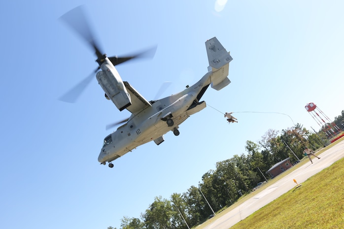 A Marine Multipurpose Canine (MPC) handler with Marine Corps Special Operations Command, and his dog fast rope off a MV-22 Osprey while conducting MPC Helicopter Rope Suspension Training Course aboard Camp Lejeune, N.C., Sept. 19, 2013. MARSOC MPC program is developing a standard operating procedures, while also partaking in the training to build the program.   (U.S. Marine Corps photo by Sgt. Anthony Carter/Released)