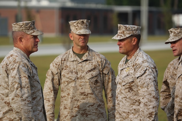 (Pictured left to right) Major Gen. Raymond Fox, commanding general, II Marine Expeditionary Force, Brig. Gen. John Love, deputy commanding general, II MEF, and Maj. Gen. Mark Clark, commanding general, U.S. Marine Corps Forces, Special Operations Command, met at MARSOC Headquarters, Sept. 13, 2013. Clark hosted commanders from North Carolina to discuss special operations' integration in conventional forces. (U.S. Marine Corps photo by Cpl. Samuel McKenzie/Released)