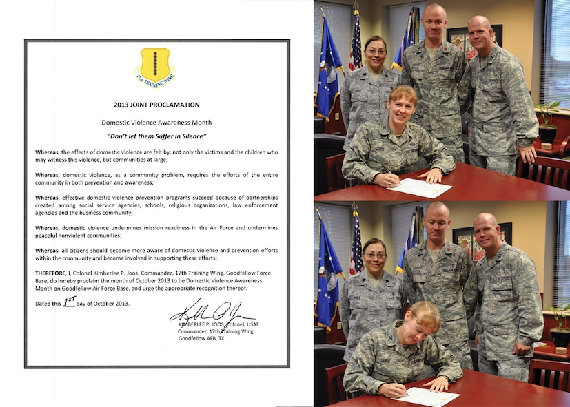 GOODFELLOW AIR FORCE BASE, Texas -- Col. Kimberlee Joos, 17th Training Wing Commander, signs the 2013 Joint Proclamation Letter for Domestic Violence Awareness month Oct. 2. The letter proclaims October to be Domestic Violence Awareness and Prevention month at Goodfellow. (U.S. Air Force illustration by Airman 1st Class Erica Rodriguez