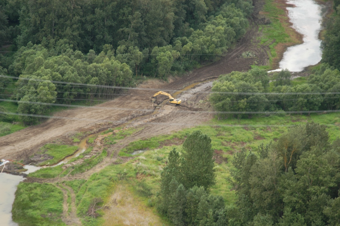 Aerial photo of Sandy River Delta dam removal