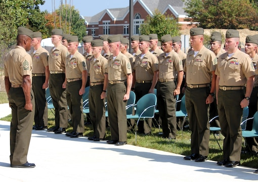 Students and faculty sing the Marines' Hymn during Sergeants Course Class 6-13 graduation ceremony Oct. 4, 2013, at Staff Noncommissioned Officer Academy aboard Marine Corps Base Quantico.
