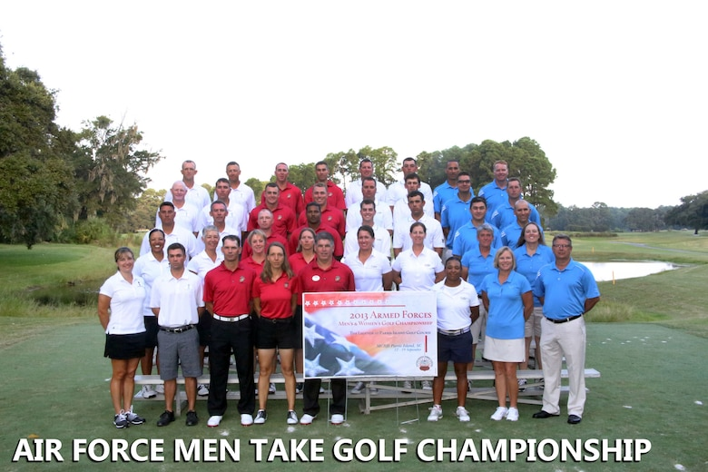 The Air Force men's and women's golf teams participated in the 2013 Armed Forces Golf Championship Sept. 15 – 18 held at the Marine Corps Recruiting Depot, Parris Island, S.C. The tournament featured six-person teams from the Air Force, Army, Marine Corps and Navy in each division. The Air Force men's team won gold in their division for the 10th consecutive year and the women's team came in third. (U.S. Marine Corps photo/Cpl. Vincent White)