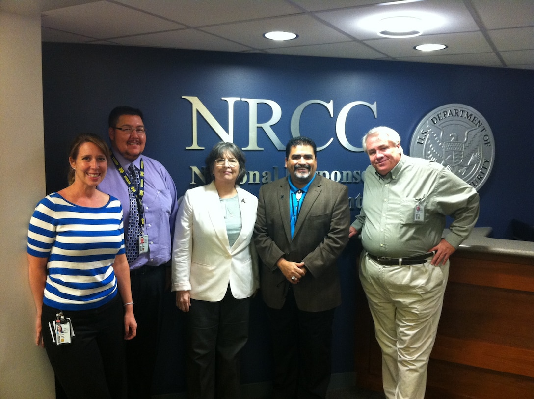 WASHINGTON, D.C. - The Corps visits FEMA. L to R: Rebecca Klein, on developmental assignment from Army National Guard to USACE's Tribal program; Paul Cloutier, NWD Tribal Liaison; Georgeie Reynolds, Senior Tribal Liaison, HQUSACE; Richard Flores, Senior Tribal Liaison, FEMA; Ron Kneebone, Tribal Liaison, SPA.