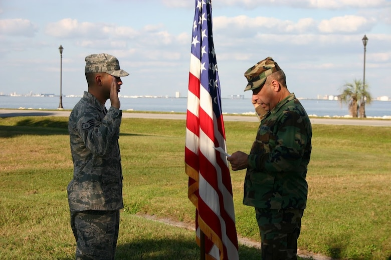 Then-Tech. Sgt. Jose Melendez re-enlists in the U.S. Air Force during a 2008 ceremony. Now-1st Lt. Melendez encourages Hispanics to be proud of their heritage. (Contributed photo/Released)